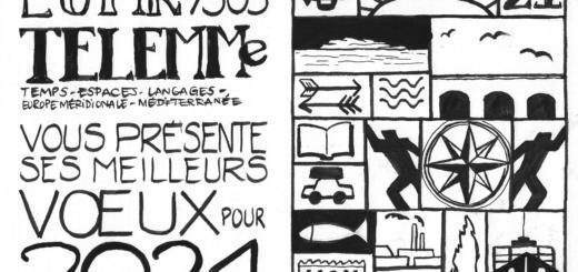 Toute l'équipe de l'UMR 7303 TELEMMe - Temps, espaces, langages, Europe méridionale, Méditerranée - vous présente ses meilleurs vœux pour 2021. Crédits : Ève Fourmont-Giustiniani (TELEMMe, AMU-CNRS), sur le mode de Joaquín Torres García
